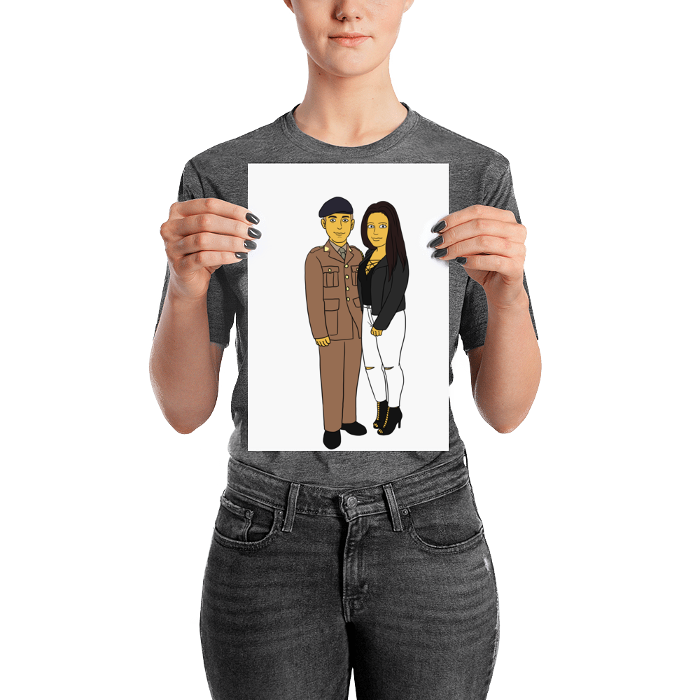 Poster  With My Love - Couple Full Body - Personalized Avatar