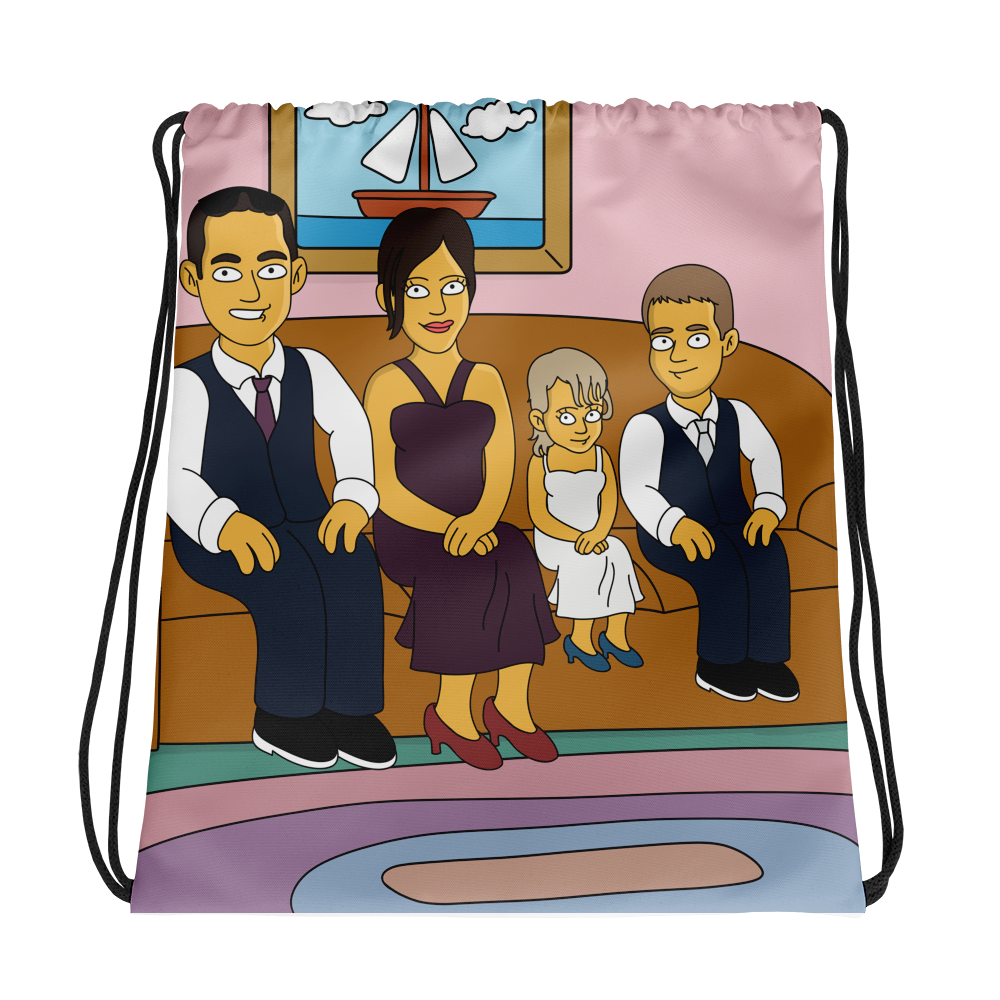Bag  Family on couch (Max. 4 members) - Personalized Avatar